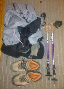 boots, poles, jacket