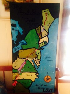 My giant canvas map of the AT showing important trail information.