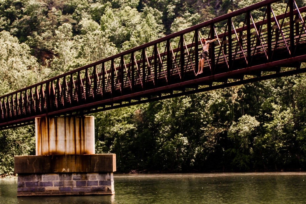 Jumping from James River Footbridge