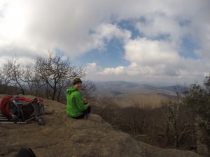 On top of Blood Mountain eating dry oatmeal. It's actually not bad.