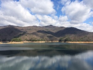 View from Fontana Dam: much more beautiful before I knew I had to climb it