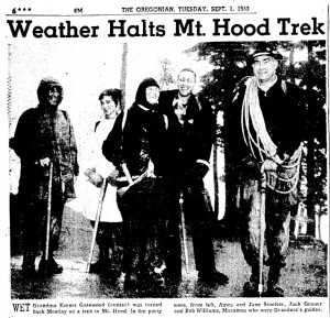 An Article from the Oregonian in 1959 about bad weather during Grandma Gatewood's Oregon Trail hike.