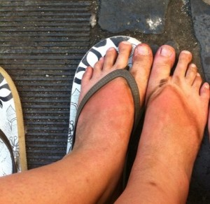 My very dirty feet after I accidentally wore flip-flops hiking around some ancient Roman ruins.