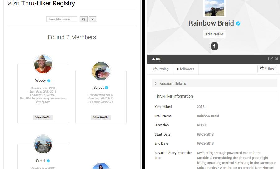 thru-hiker registry showcase