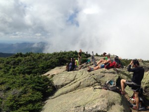 A bunch of smelly NoBo 2014 hikers procrastinating hiking the White Mountains.