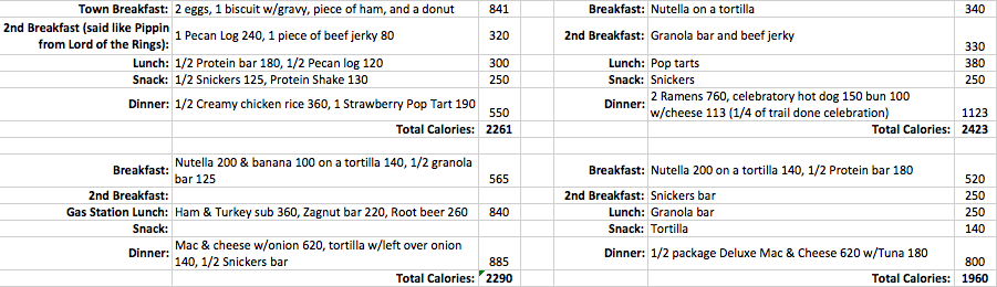 If you just look at the list without the calorie count, how many calories would you guess I was eating?
