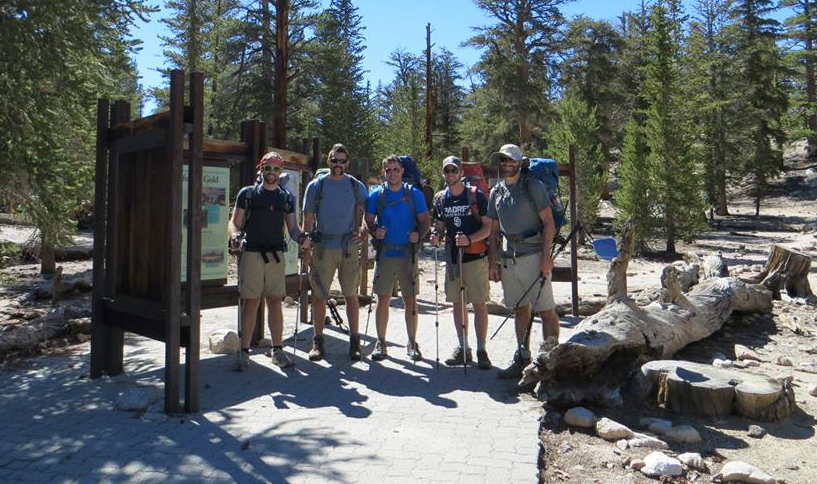 (left to right) Badger, Beau, Chris, Eddie, Jeff entering the Inyo National Forest