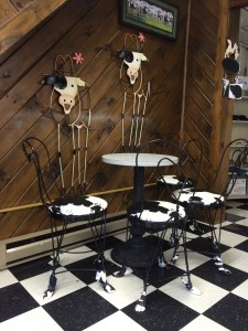 Cute little hoof cow chairs in the ice cream shop