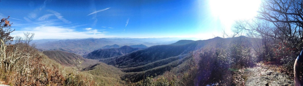 Unbelievable views from Rocky Bald, about a 1/4 mile off the trail a few miles south of Tellico Gap