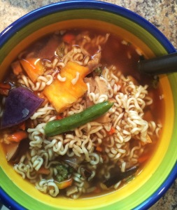 Oriental Ramen with garlic, shitake mushrooms, and assorted veggie chips (carrot, green beans, purple sweet potato and summer squash)