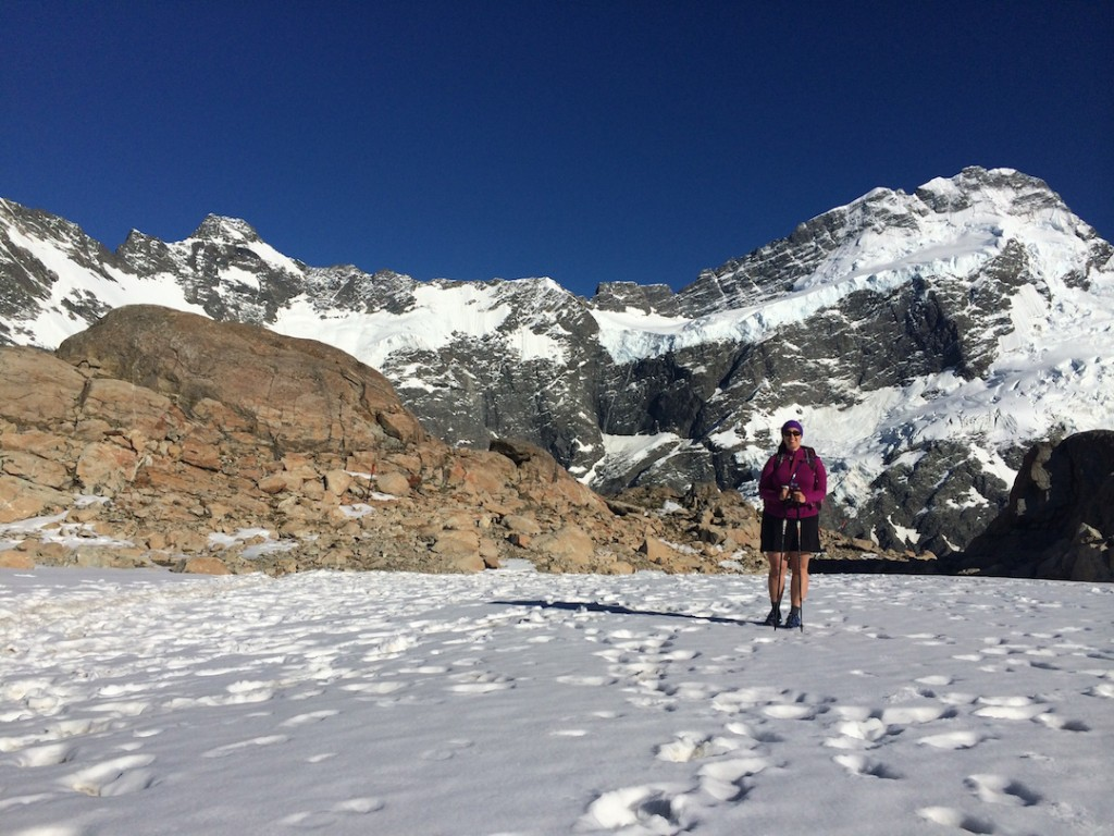 Starting off our decent from a snowfield