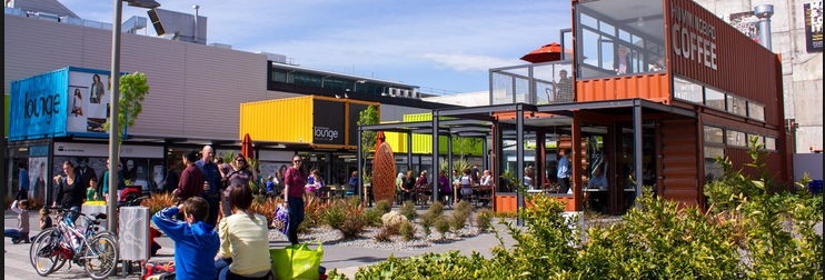 The Re-Start market in Christchurch is made entirely out of shipping containers