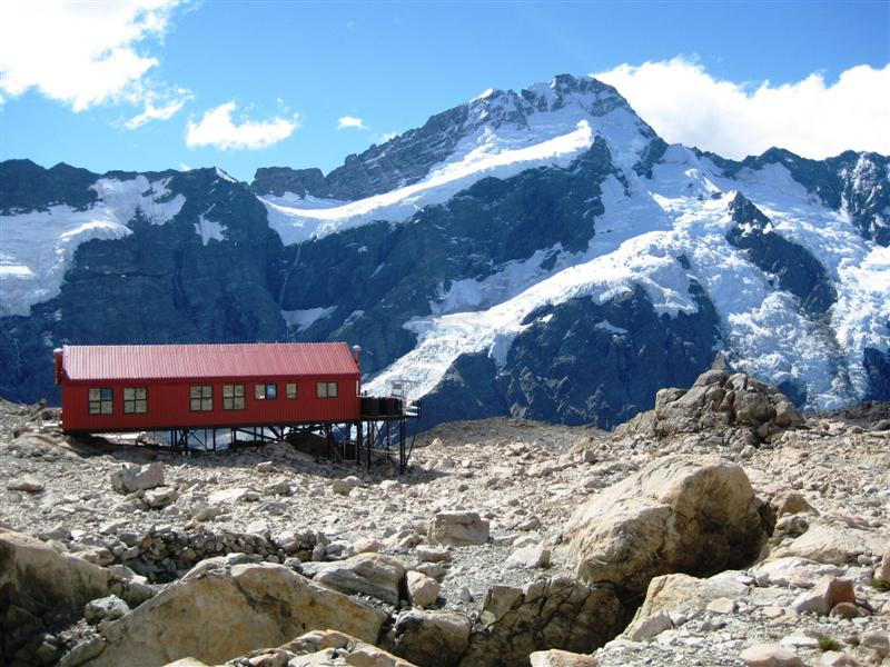 Mueller hut sitting amongst the glaciers
