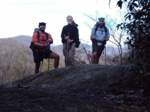 "Kanati in East TN on a reunion hike in 2011 with Bad Hummus (left) and Yeti (right). If you were thinking, ""He looks like Obi-Wan,"" you'd be right. In more ways than one, he's my Obi-Wan."