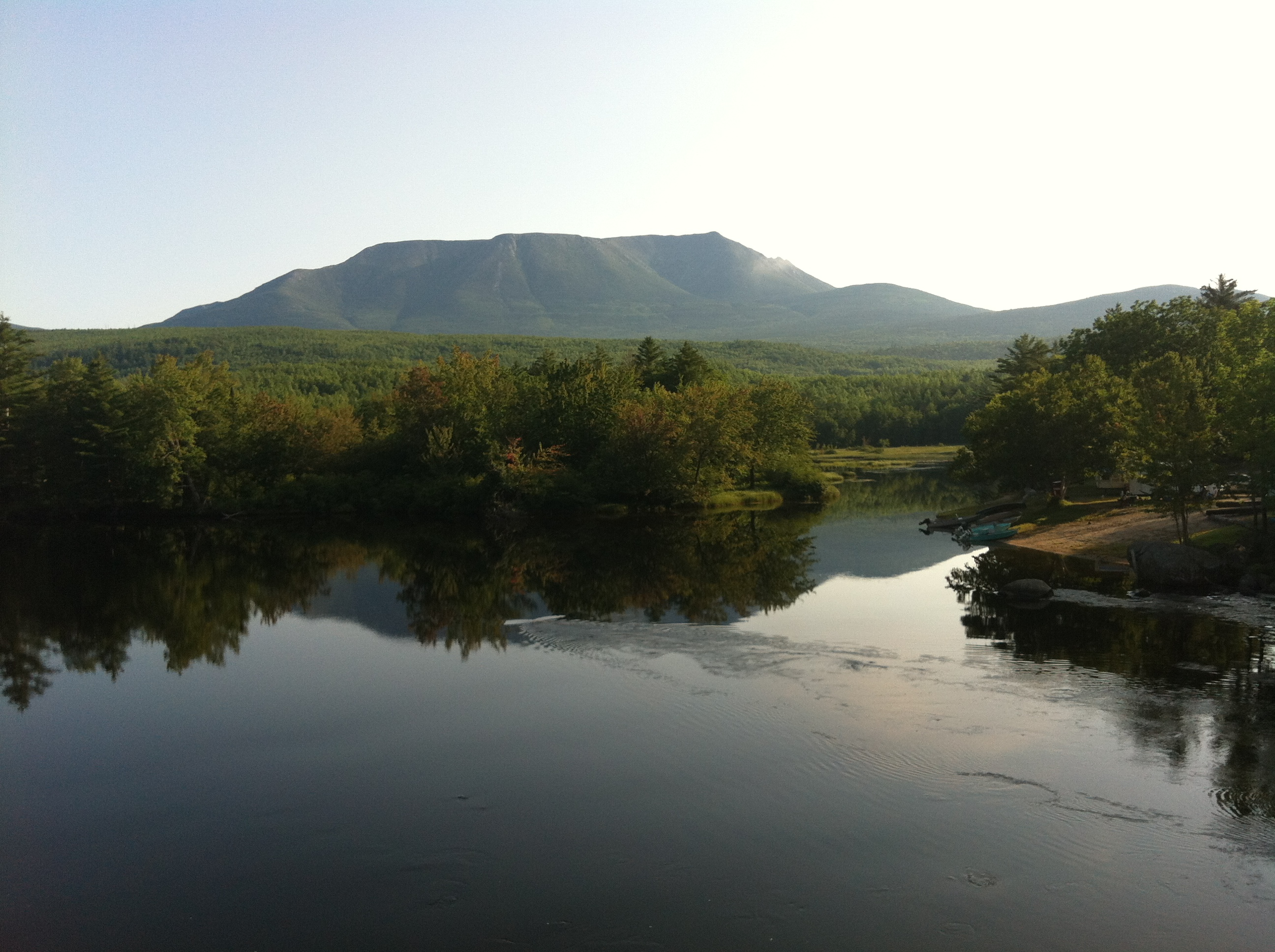 """Mt. Katahdin and one of Baxter State Park's many ponds.  Photo by John Paul """"West"""" Smith."""