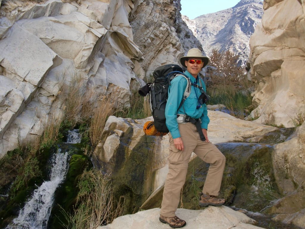 A cool hike in Death Valley California.  Robert hikes up a narrow passageway in Surprise Valley on the way to the ghost town and former silver boom town of Panamint City.