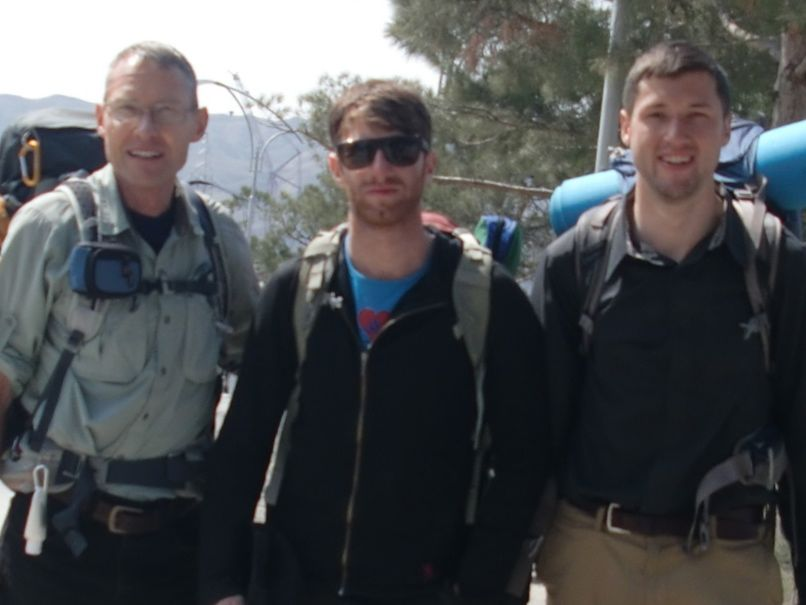 Ready for a hike from Mingechevir, Azerbaijan to the tops of the mountains overlooking the Kur River Reservoir. From L to R, Robert with Peace Corps colleagues Iain and Steven.