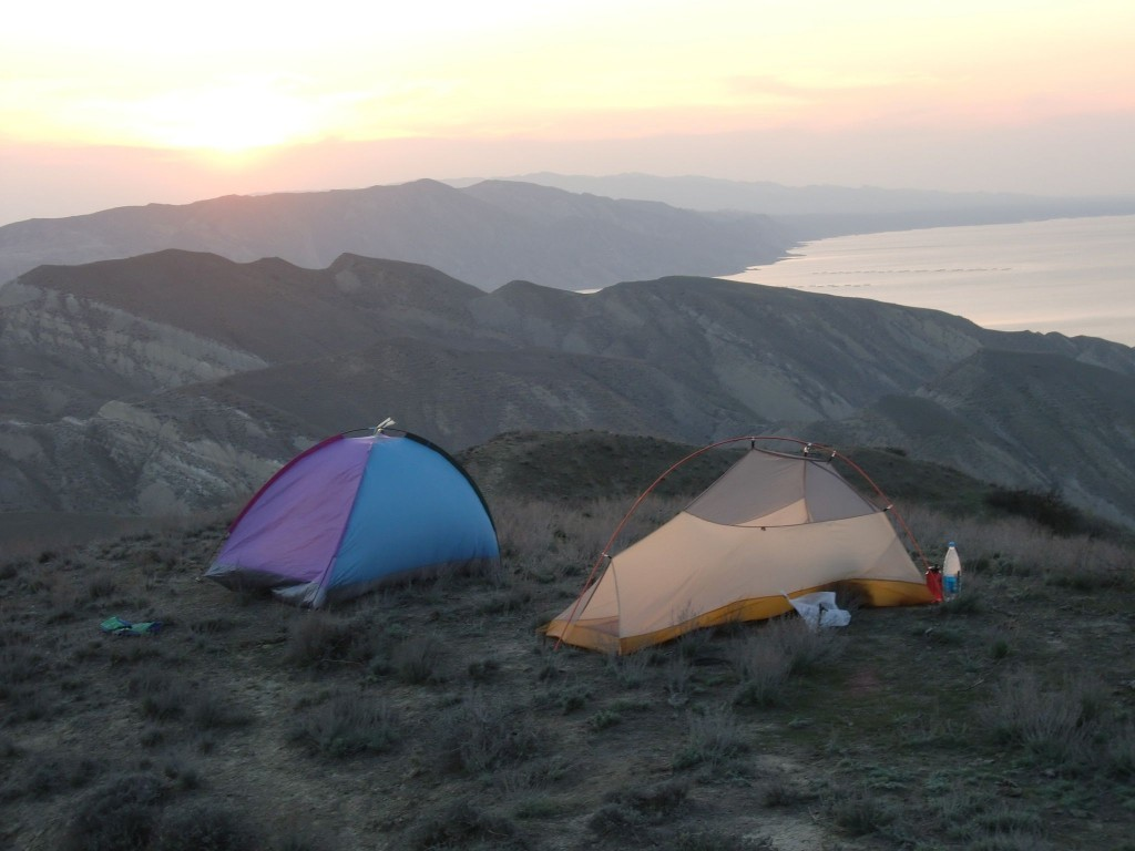 Campsite above the Kur River Reservoir in central Azerbaijan