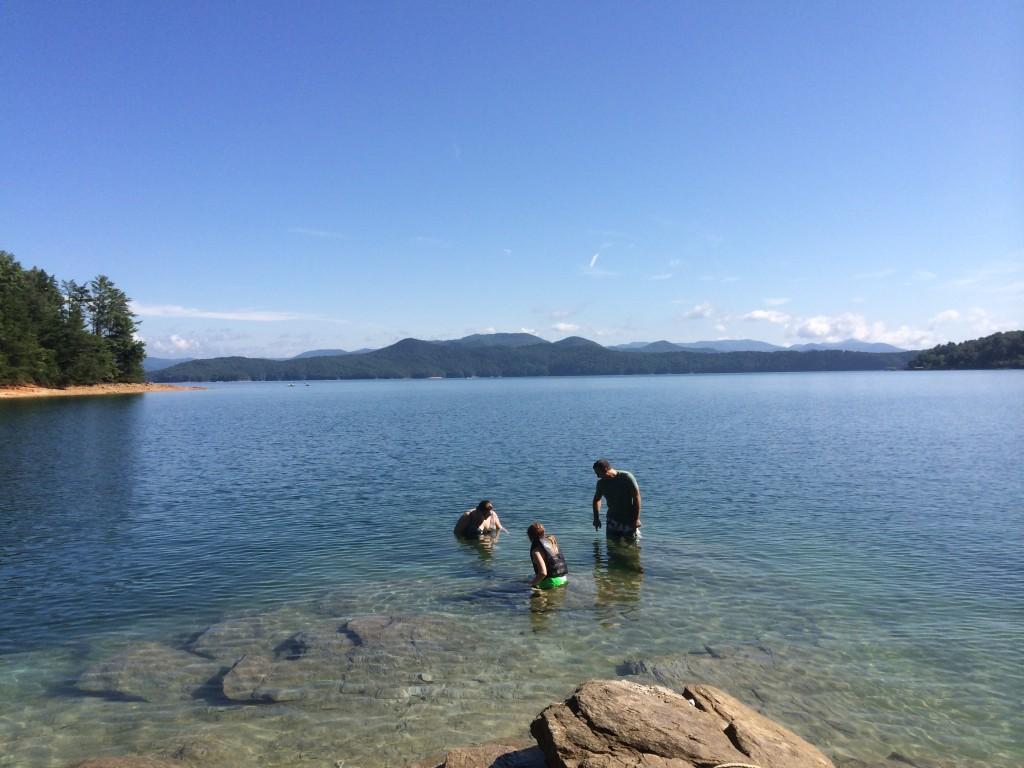 My sister and us exploring Lake Jocassee, South Carolina.