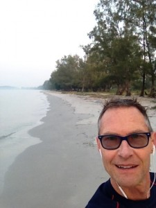 Robert on the beach near Sihanoukville, Cambodia.   Unwinding from two years of Peace Corps work in Azerbaijan.