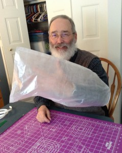 Mel making Cuben Fiber bags for our hike