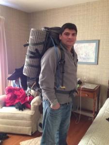 Adam testing his pack.