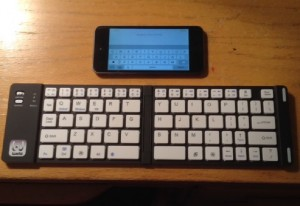 Bluetooth keyboard with teeny tiny iPod Touch