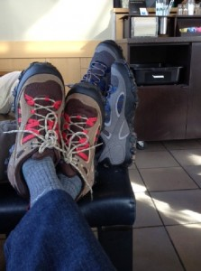 Our sparkly new Patagonia Drifters as we read and relax at Starbuck's.