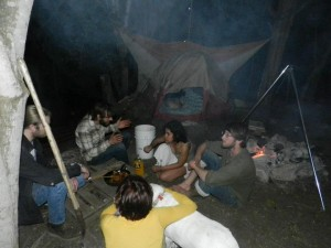 My neighbor in the forest also lived in a tent.  Here, both house and tent people congregate to make dinner.