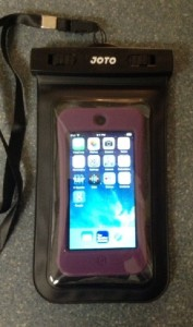 iPod Touch protected with Griffin Survivor case inside JOTO waterproof bag