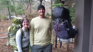 Sean and I weighing our bags at Amicalola Falls State Park. Mine weighed in at 28 lbs and his at 31 inc food and 1 L water. Full list here.
