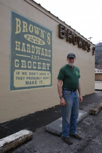 Sutton Brown stands outside of his business called Brown's Grocery in Hampton, Tenn. (Photo by Kayla Carter)
