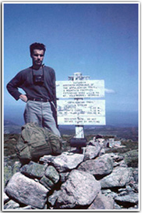 Earl Shaffer on the first documented AT thru-hike. Photo from the Appalachian Trail Conservancy.