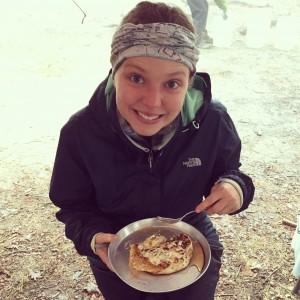 Morgan enjoying the greatest banana pancake to date!