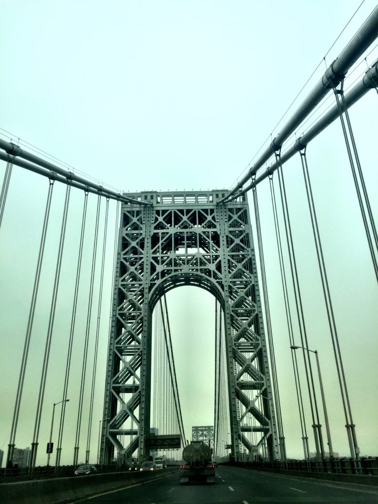 Crossing over the George Washington bridge as the sun rose.