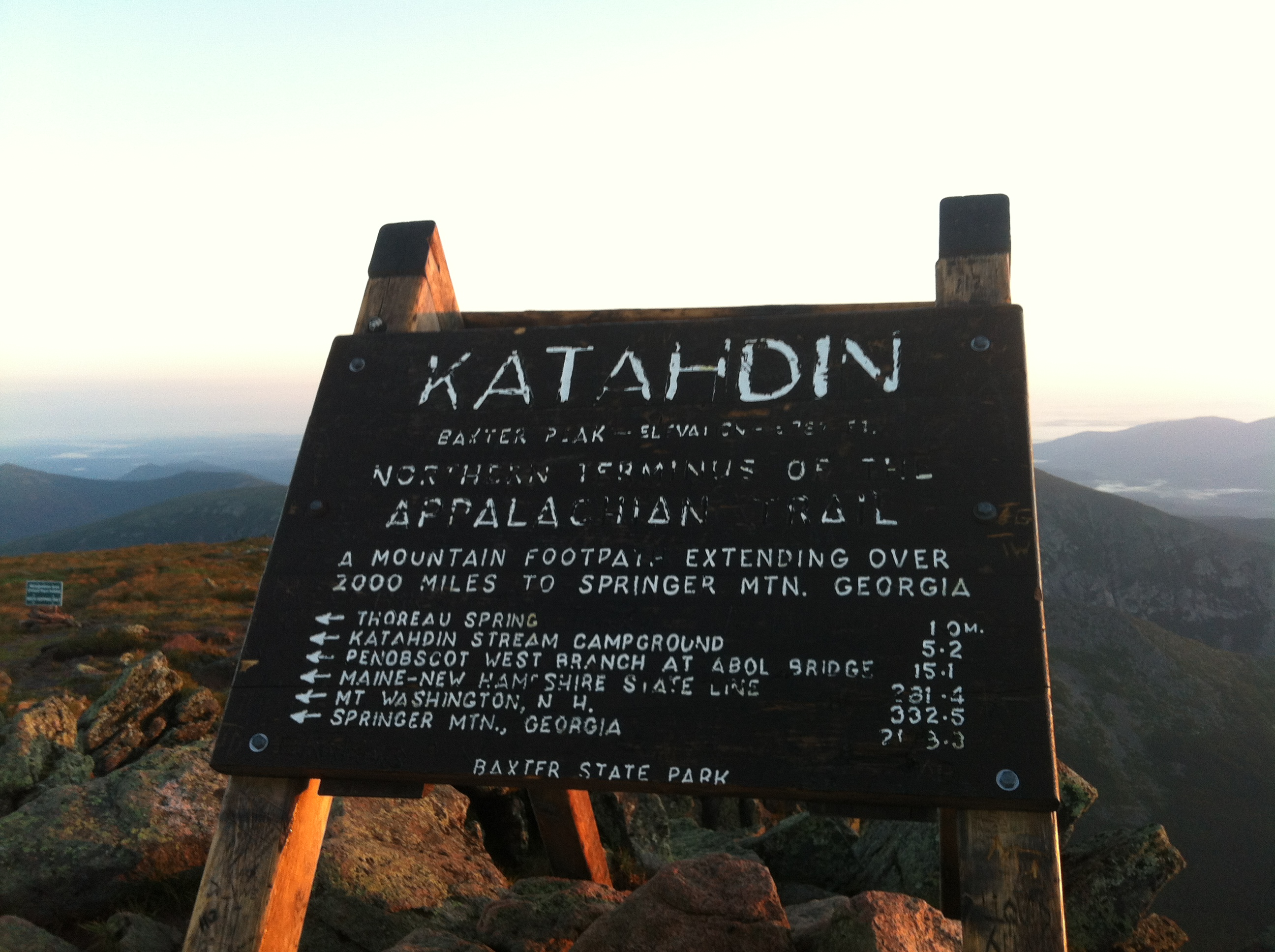 "The ""Katahdin Sign"" at Baxter Peak. Photo by John Paul ""West"" Smith."