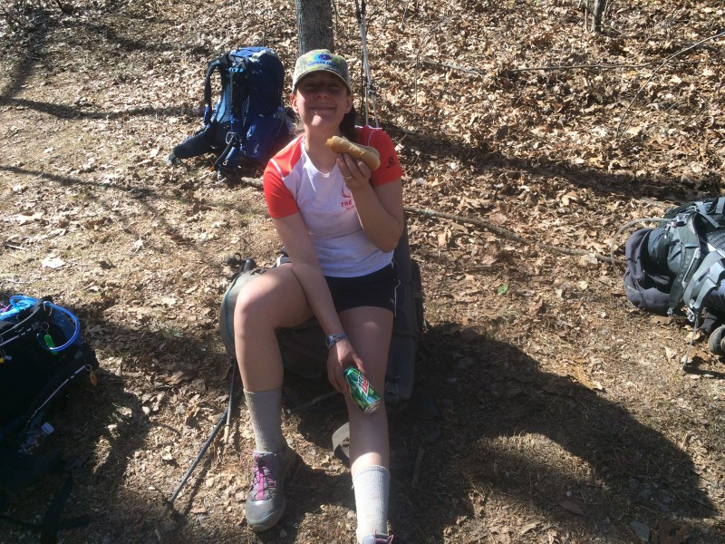 Trail magic before Tray Mountain. Using the soda can to ice my angry knee