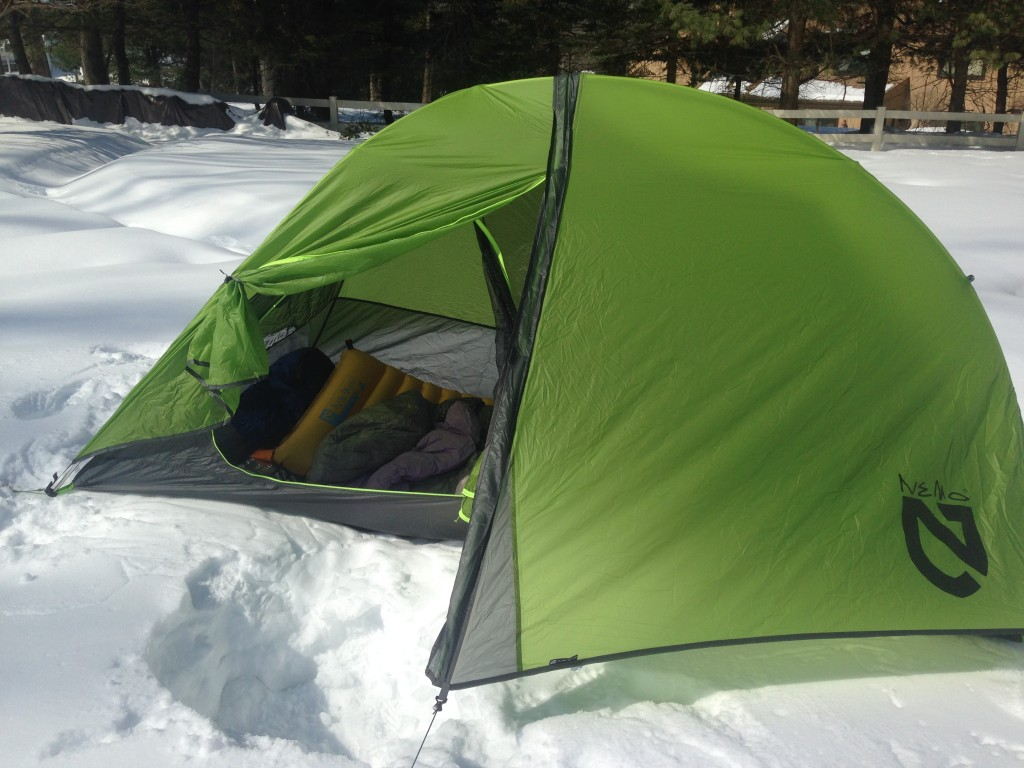 My valiant Nemo tent pitched on top of a few feet of snow.