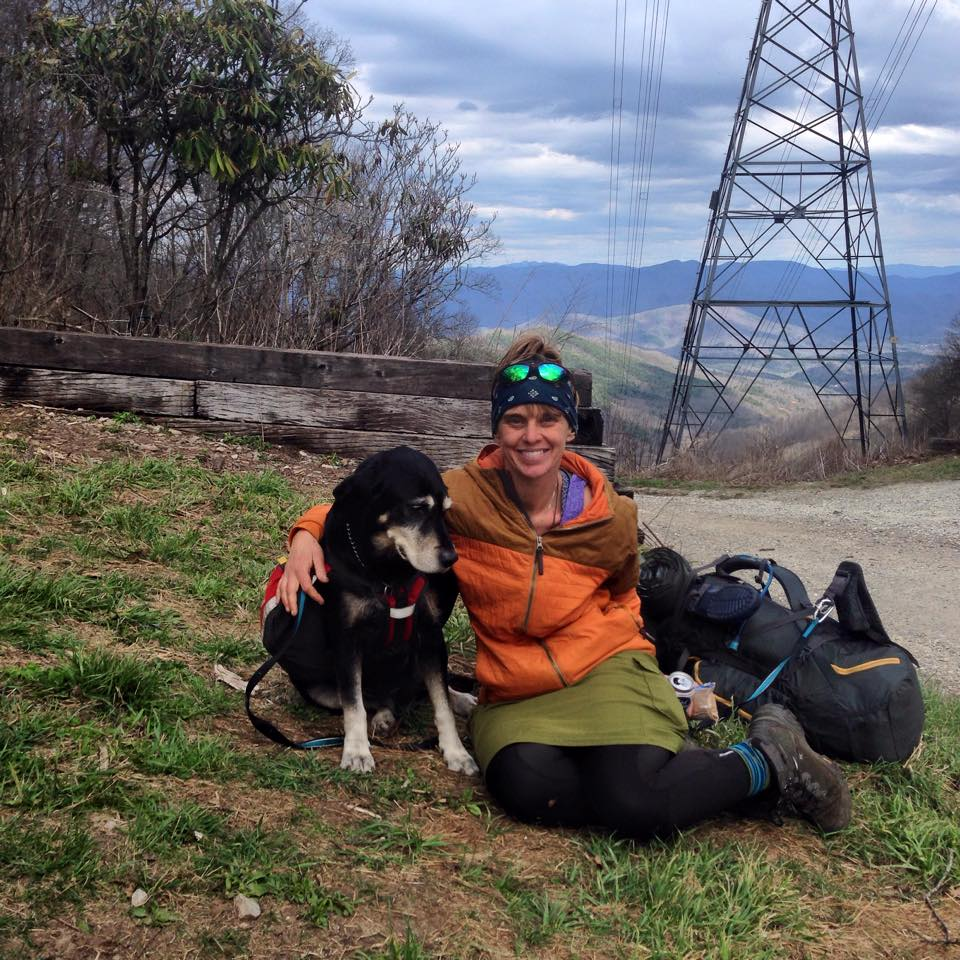 I met Evergreen and her dog, Karma, at Sapphire Inn in Franklin. Karma is 12 years old and going strong! Such a sweet pup. Evergreen hung out with us a while at the gap replenishing her calories with fruit and soda. As a vegan on the trial, she said she's been struggling finding enough to eat. Her story was so inspiring. She sold her house and quit her job to hike the trail and live her dream.