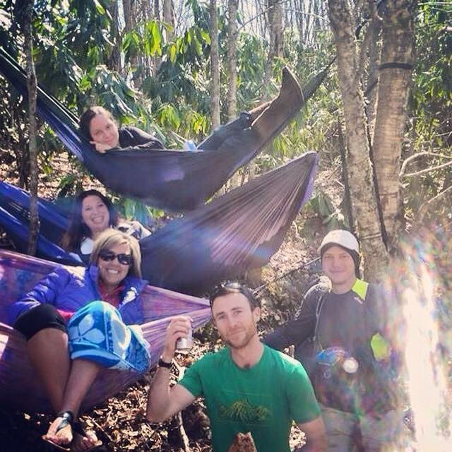 "We set up hammocks at WSG while doing trail magic and had so much fun with them. We were referred to as ""Tree Faeries"" by a gal who stopped in with a guy, who I believe goes by the name of Lobsterman (he's from Maine) who is slackpacking so he can ""speed hike"" as much of the trail as possible. The girl is supporting him by driving a car. The two guys in this photo were from Europe and were very motivated!"
