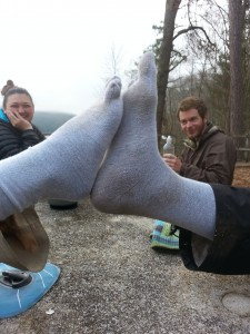 Happy feet high-five! Injinji toe liners in action!