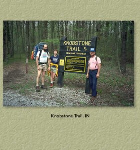 My dad and mom (left of photo) on the Knobstone Trail, 1980.