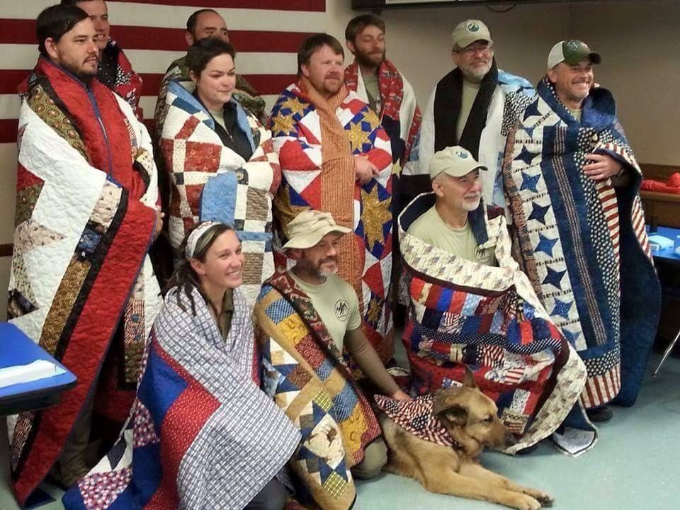Quilts of Valor... they even mailed them home for us