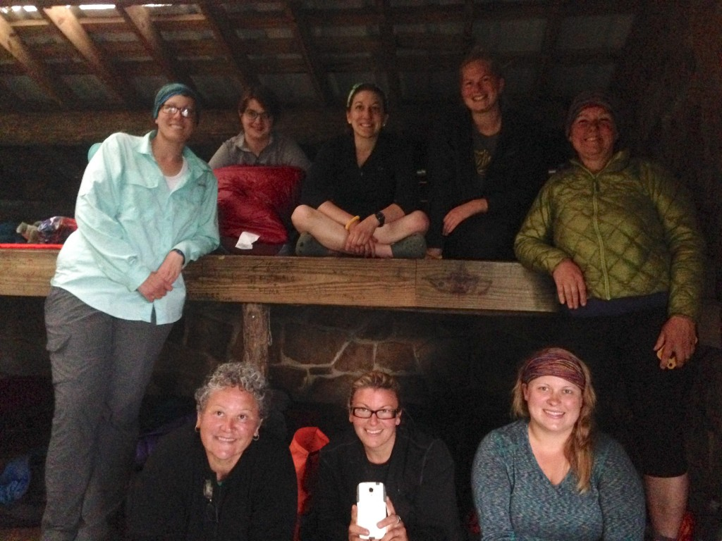 All the gals in Cosby Knob Shelter, our last night in the Smokies! L>R, T>B: Utah, Fruit Snacks, Brown Sugar, Goldilocks, Highlighter, City Kick, Slow N Steady, Tinkerbell.