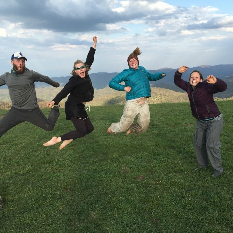 Four happy Appalachian Trials bloggers loving Max Patch!!