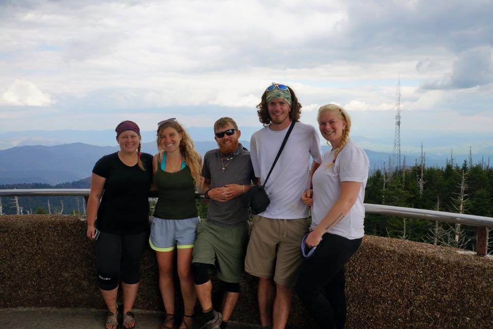 Me (Tinkerbell), Wonderland, Twister, Pockets, and Goldilocks atop Clingman's Dome!