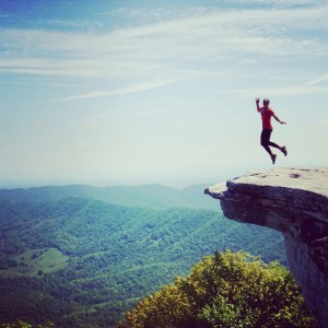 Jumping for joy on McAfee Knob.