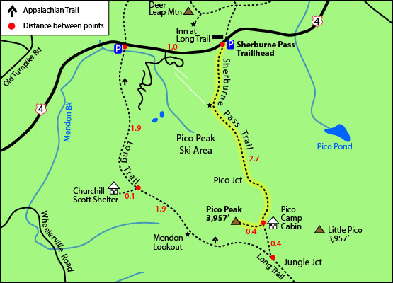 Map showing both the AT and Sherburne Pass Trail routes around Pico Mountain. Photo courtesy of 4000footers.com