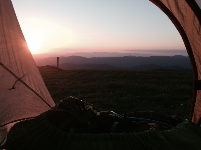 Sunrise from my tent, atop Max Patch
