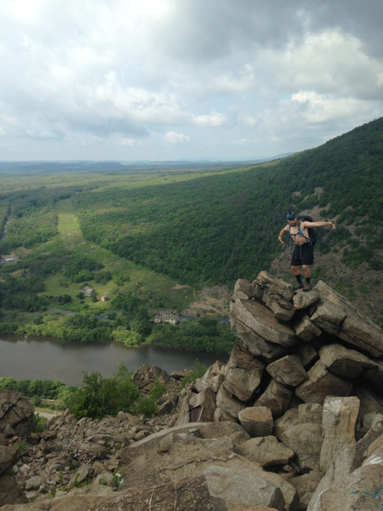 At the top of the Lehigh Gap climb, which involves bouldering up a steep rock face.